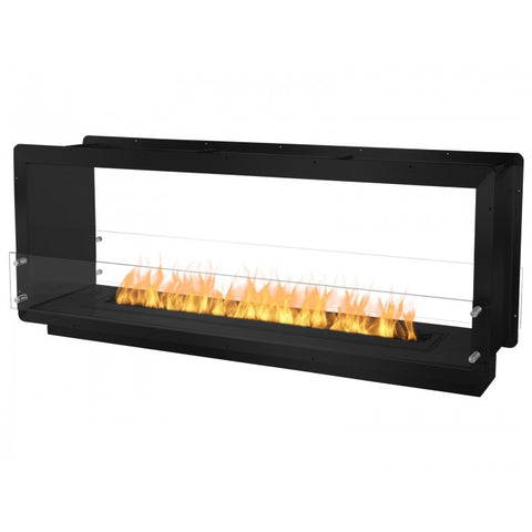 "Ignis 64.25"" Wide Double-Sided Ethanol Burning Firebox in Black - Ethanol Fireplace Pros"