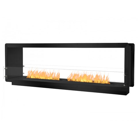 "Ignis 78.5"" Wide Double-Sided Ethanol Burning Firebox in Black - Ethanol Fireplace Pros"
