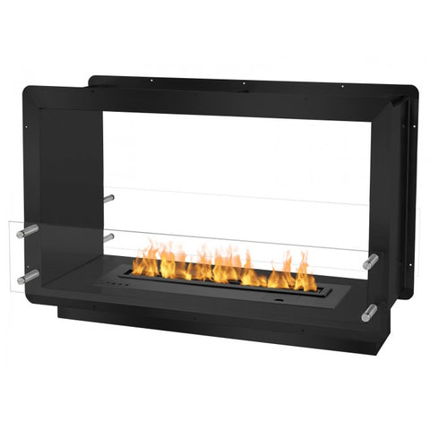 "Ignis 39.5"" Wide Double-Sided Ethanol Burning Smart Firebox in Black - Ethanol Fireplace Pros"