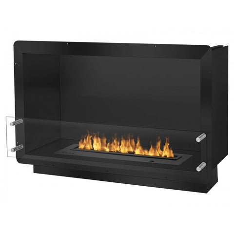 "Ignis 39.5"" Wide One-Sided Ethanol Burning Smart Firebox in Black - Ethanol Fireplace Pros"