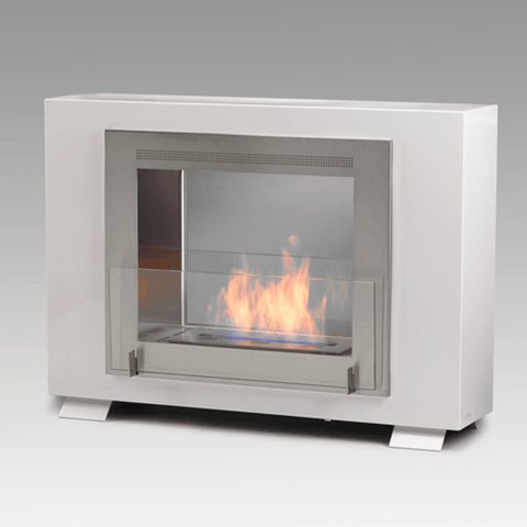 Eco-Feu Wellington 2-Sided Biofuel Fireplace in Gloss White - Ethanol Fireplace Pros