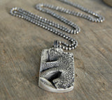 Custom Sterling Silver Large Dog Nose Print Necklace in DOG TAG Style // Personalized to Your Pet