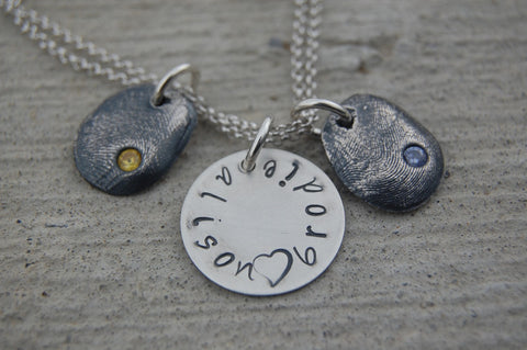 Etsy Finds Feature - Two Silver Fingerprints with Hand-Stamped Sterling Disc Bracelet