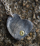 Custom Silver Fingerprint Heart with a Birthstone