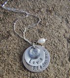 Custom Silver Fingerprint with TWO Handstamped Silver Discs - Includes Sterling Cable Chain