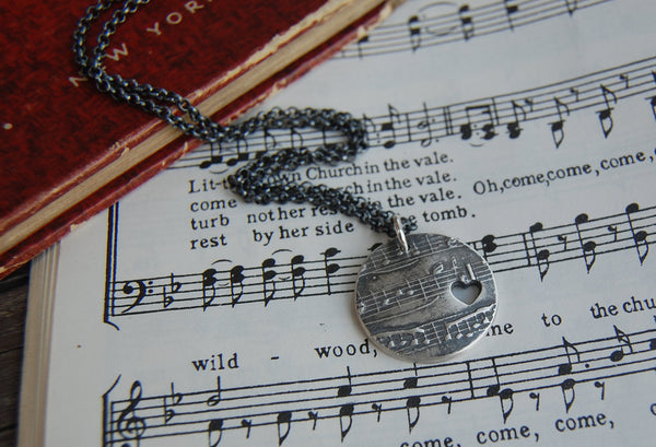 Customized Silver Sheet Music Necklace with Heart Cutout - You Name That Song