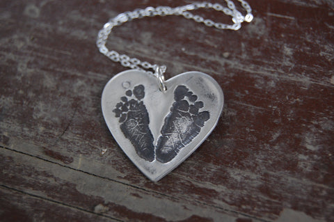 This Little Piggy Customized Footprint Heart Necklace