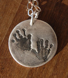 Custom Hand Print Necklace in Fine Silver