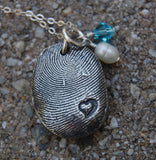 Custom Sterling Fingerprint with Heart Imprint - Includes Chain