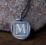 Personalized Wax Seal Initial Necklace in Fine Silver - Choose Your Own Ornate Custom Letter