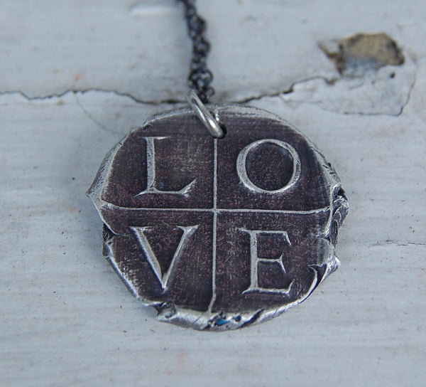 Wax Seal Love Necklace in Fine Silver - Ready to Ship