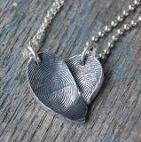Custom Couple / Best Friends Fingerprint Heart Necklace Set - TWO Necklaces with Chains