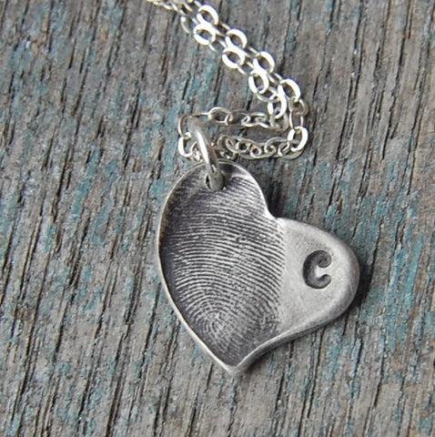Custom Fine Silver Fingerprint Imprint Heart with Initial