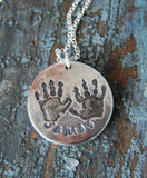 Custom Hand Print Necklace in Fine Silver - Name on Front