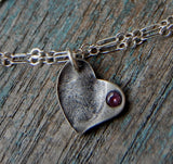 Custom Sterling Fingerprint Imprint Heart with Birthstone Inset - BRACELET