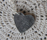 Custom Fine Silver Large Heart Fingerprint Necklace - Hangs Off-Center