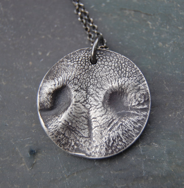 Custom Silver MEDIUM Dog Nose Print Necklace in ROUND - Sterling Rolo Chain - Personalized to Your Pet