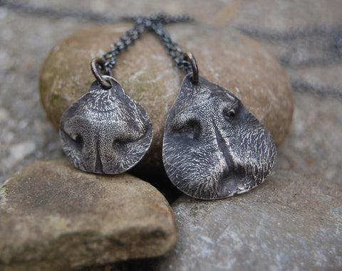 SMALL Dog or Cat Nose Print - Customized in Silver with a Sterling Silver Chain