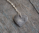 Custom Large Heart Fingerprint Necklace