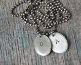 Custom TWO Silver Fingerprints - Personalized Necklace with Sterling Ball Chain