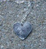 Your Own Custom Silver Double Fingerprint Heart with Sterling Chain