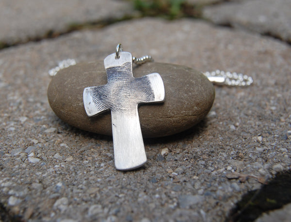 Custom Silver Fingerprint Cross - One or Two Fingerprints - Made to Order - Sterling Chain