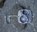 Custom Fingerprint Keychain - Two Fingerprints Key Chain Personalized in Sterling Silver