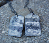 You Name the Song - Two Custom Silver Sheet Music Necklaces - Couples Necklaces