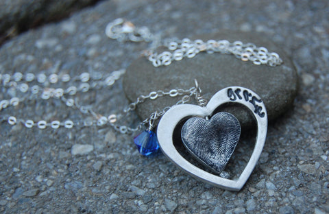 Custom Silver Floating Fingerprint Heart - Double Heart Design