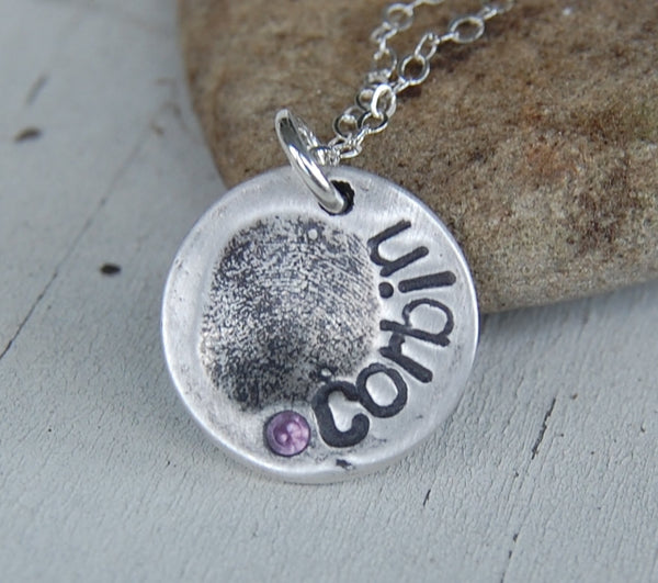 Itsy Bitsy Custom Fine Silver Fingerprint Pendant -:- Personalized Fingerprint with Sterling Chain