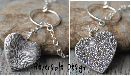 Custom Silver Fingerprint Lariat Style Necklace -:- Reversible Flower Design