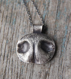 MEDIUM Custom Silver Dog Nose Print Necklace - Sterling Rolo Chain - Personalized to Your Pet
