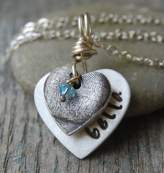 Custom Silver Fingerprint Heart -:- With Custom Silver Hand-Stamped Heart -- Includes Sterling Cable Chain