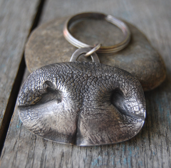 Custom Sterling Silver LARGE Dog Nose Print Keychain - Key Chain