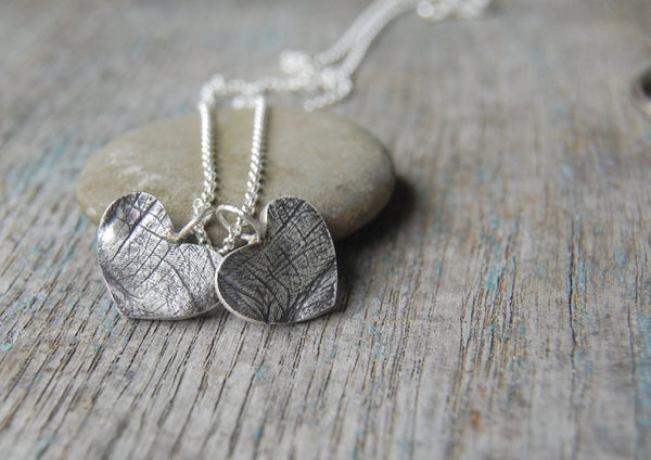 Custom TWO Small Silver Heart Fingerprints -:- Personalized with Your Children's Prints -- Includes Sterling Chain