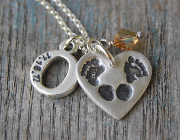 Custom Silver Footprint and Hand-Stamped Initial Necklace -:- Your Baby's Own Piggy Prints
