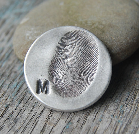 Custom Sterling Fingerprint Golf Marker -:- Personalized with Your Own Thumbprint