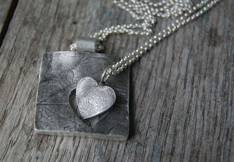 Mother & Daughter Fingerprint Necklace Set -:- Custom Silver Fingerprint Necklace Pair - with Two Sterling Chains - Best Friends