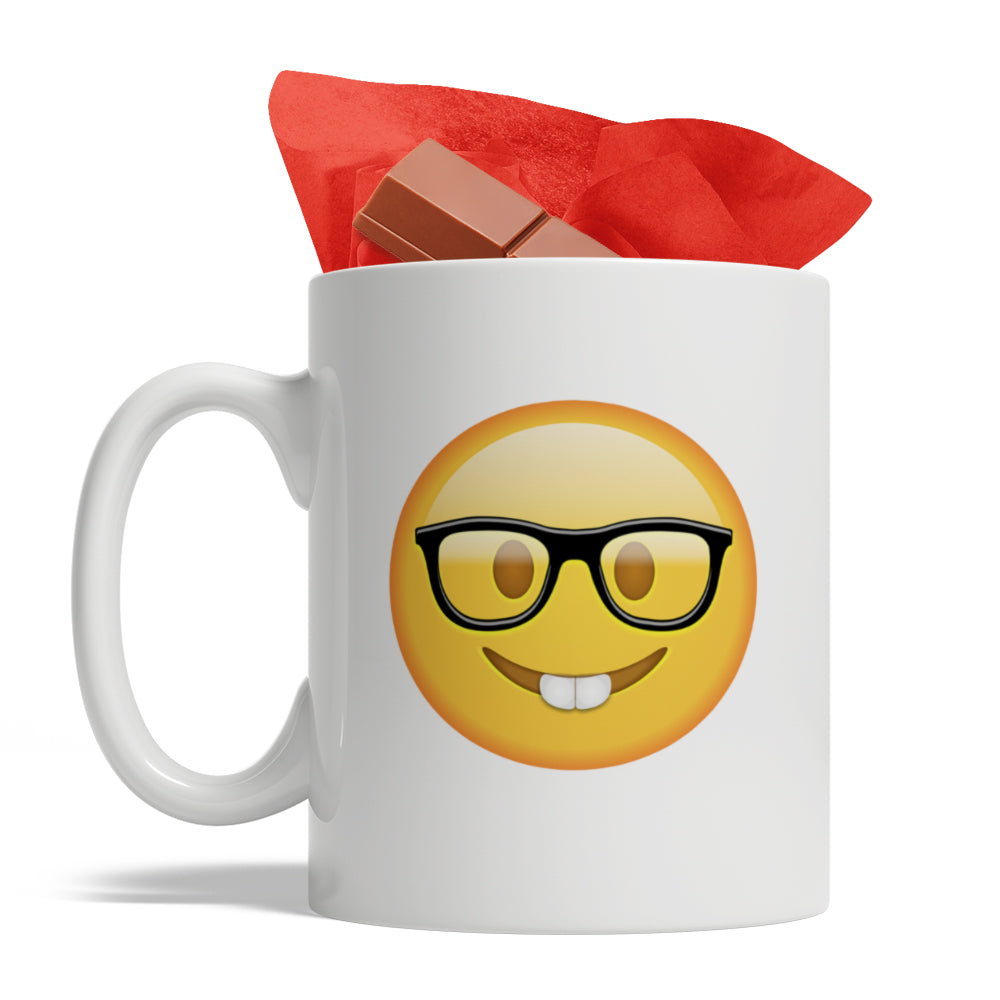 Funny Nerd Emoji , Ceramic Coffee Mug, 11-Ounce White