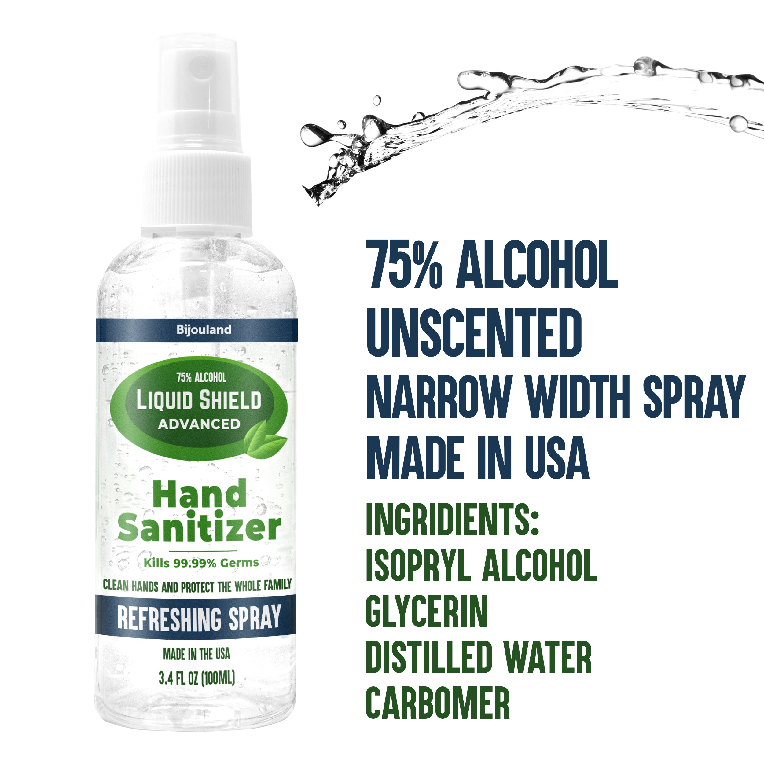 Hand Sanitizer Unscented - Spray bottle 100ml - 75% Alcohol - Made in USA