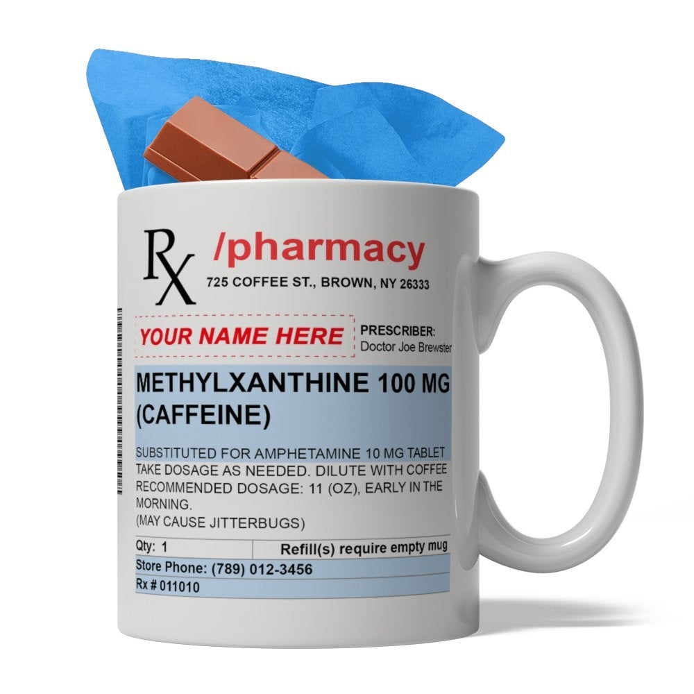 BijouLand - Personalized Pharmacy Prescription Ceramic Coffee Mug, 11-ounce