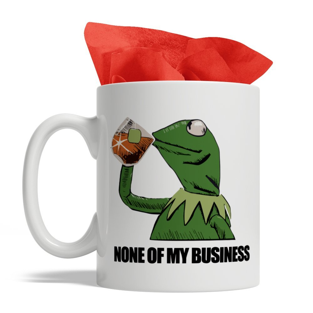 Frog Drinking Tea - None of My Business, Ceramic Coffee Mug, 11-Ounce White