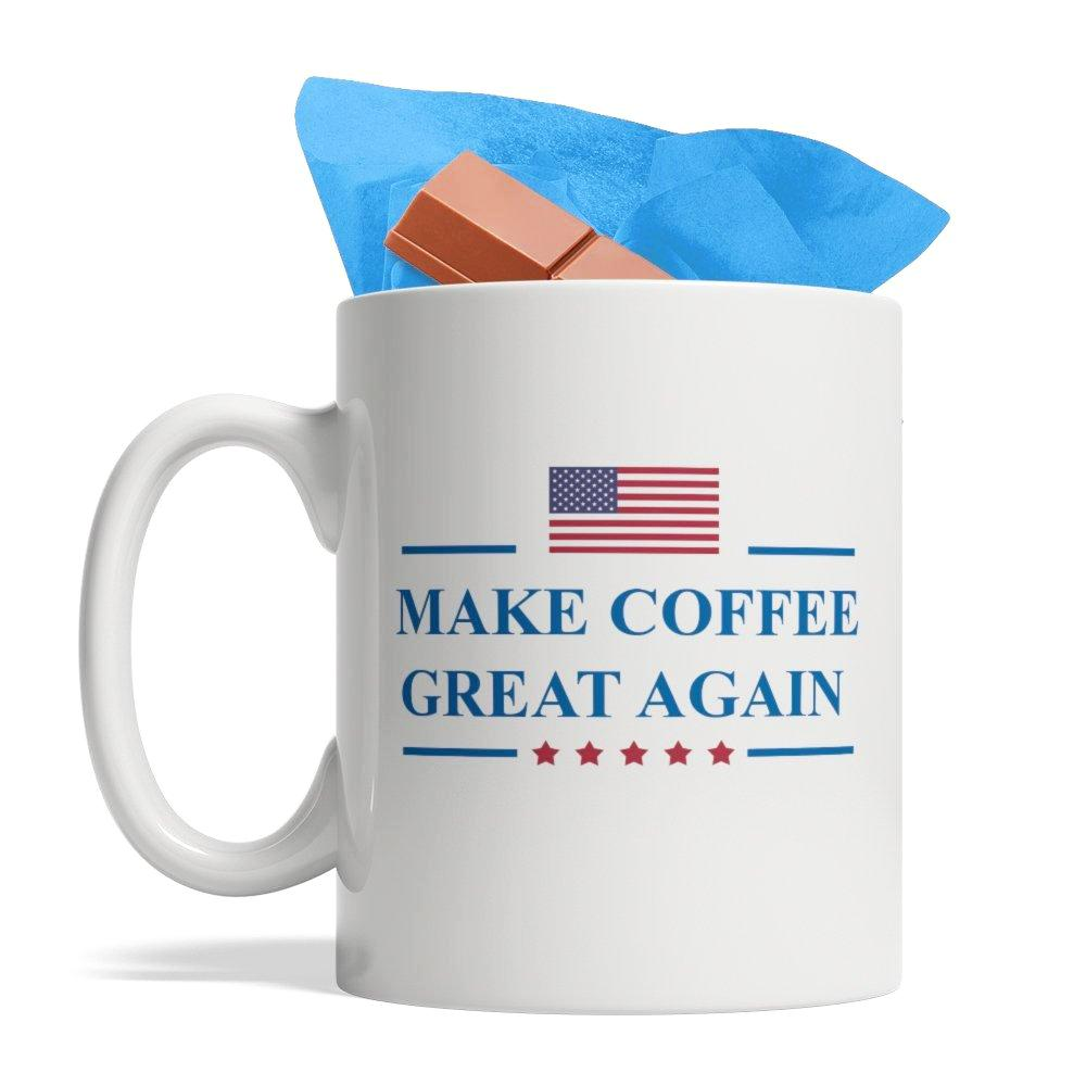 Make Coffee Great Again - Funny Ceramic Coffee Mug, 11-Ounce White