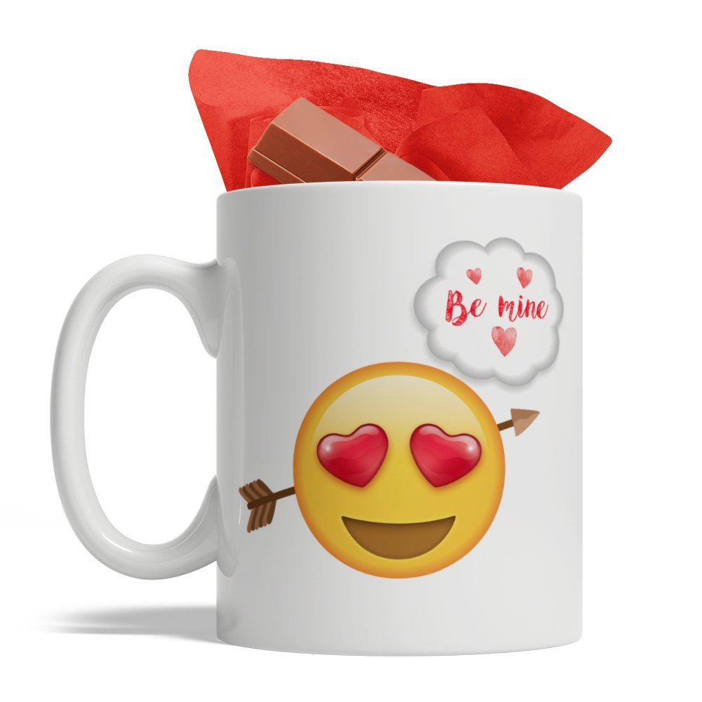 Love Emoji Be Mine Valentine's Day - Ceramic Coffee Mug, 11-Ounce White