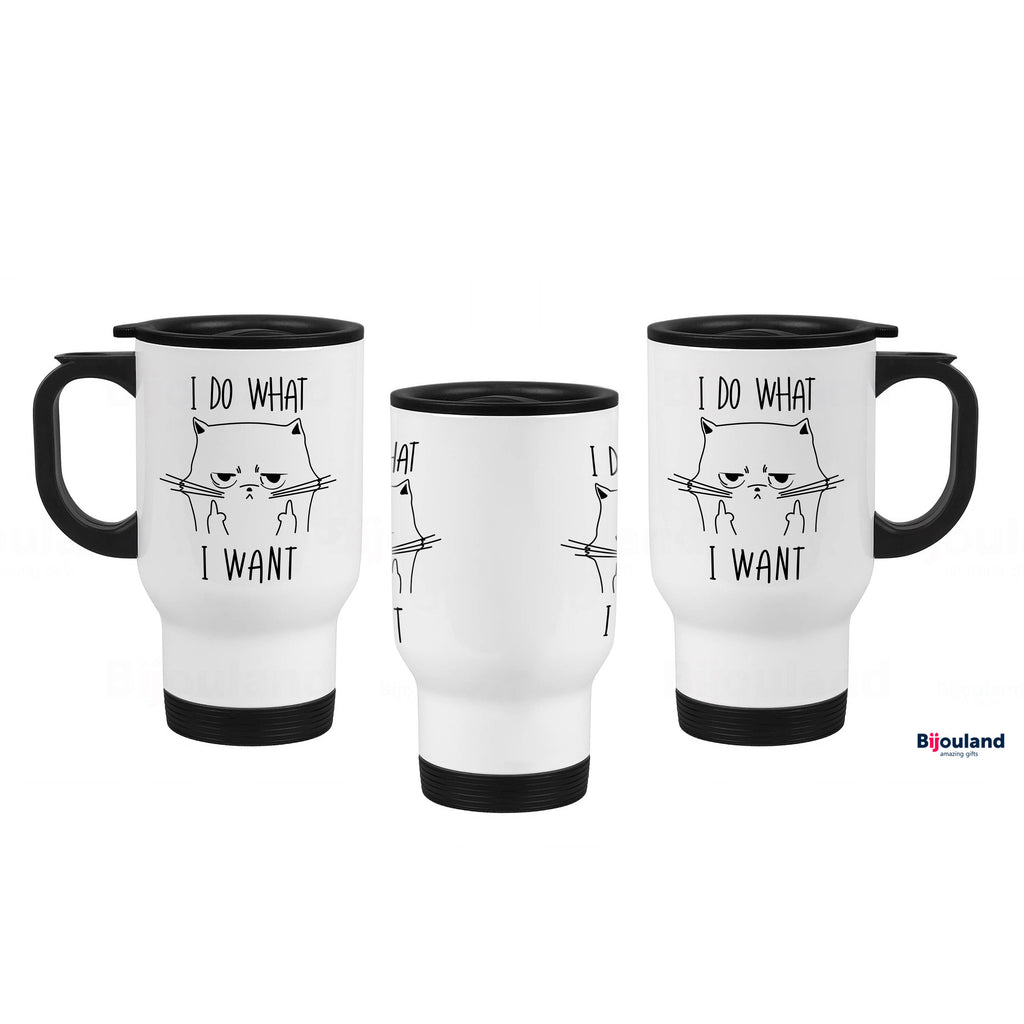 I Do What I Want - Cat Lovers Travel Mug, White Stainless Steel, 14 oz