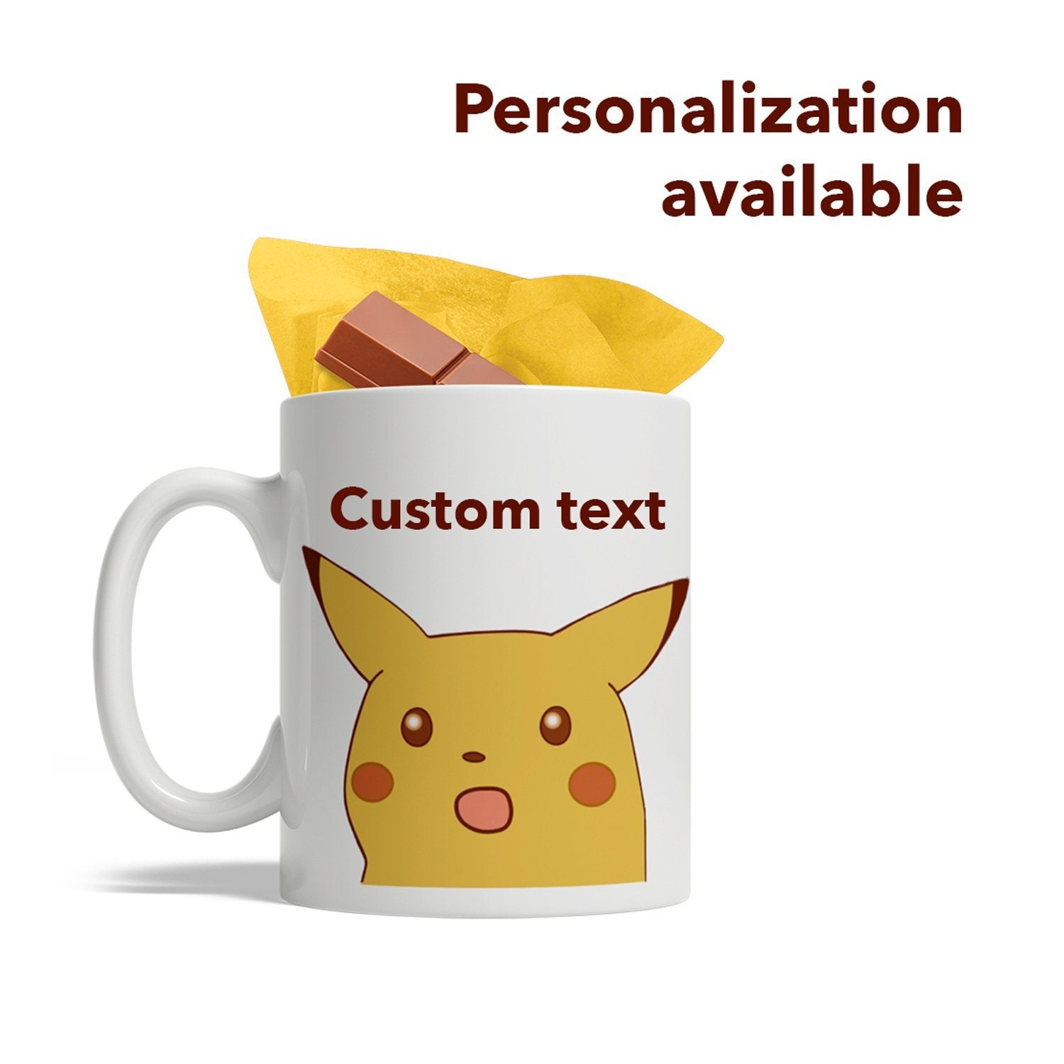 Surprised Pikachu, Personalized Ceramic Coffee Mug, Custom Text, 11-Ounce White