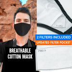 Adjustable and Washable Cotton Face Mask with Filter Pocket -Anti Dust Face Cover for Men and Women