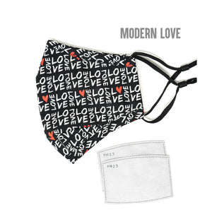 New Fashion Love Collection Cotton Face Mask with Nose Wire and Filter Pocket for Adults - 2 Filters Included