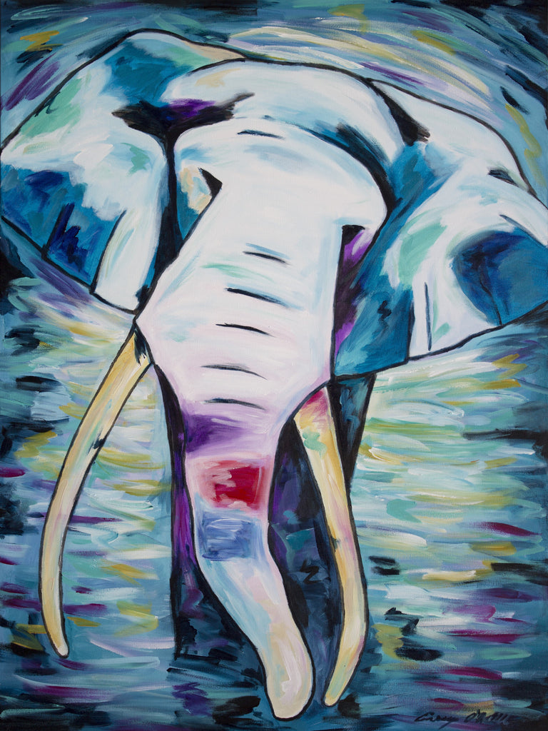Elephant (blue) painting by Casey O'Neill