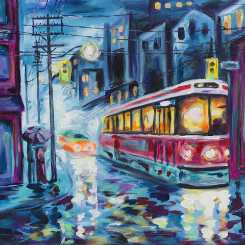 Rainy Night Couple (Blue) painting by Casey O'Neill